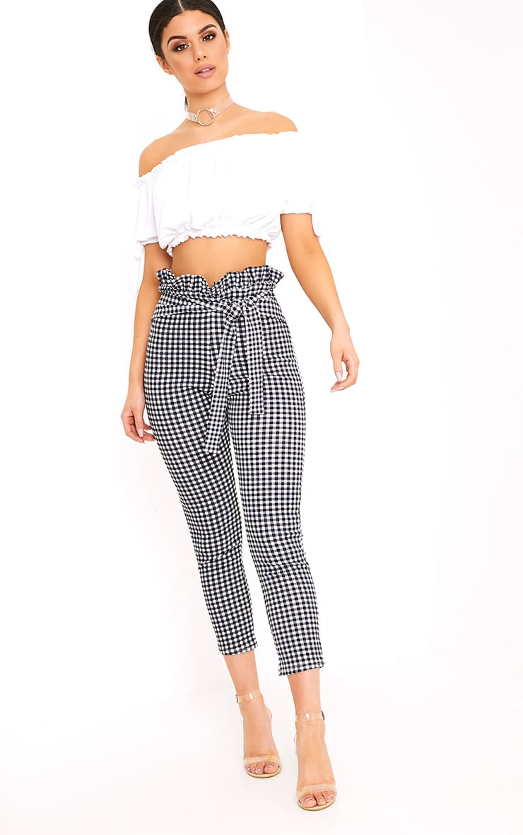 Perlita Black Gingham Paperbag Skinny Trousers 1
