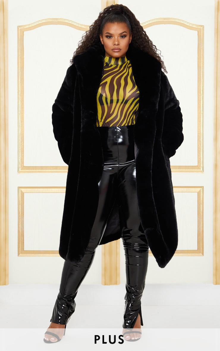 Plus Black Premium Longline Faux Fur Hooded Coat 1
