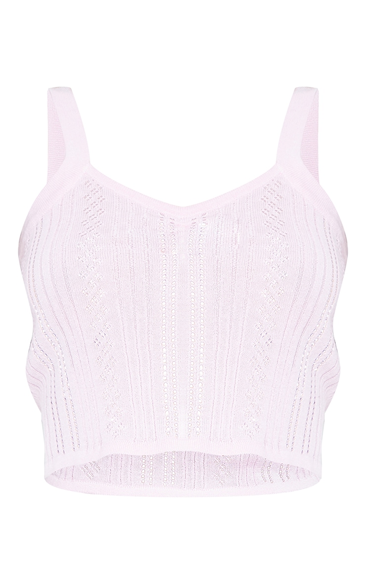 Baby Pink Ruched Front Knitted Pointelle Top 5