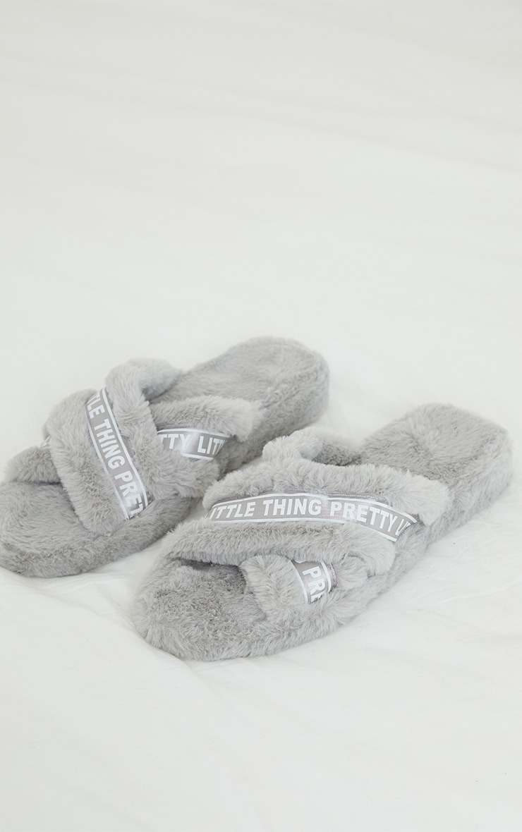 PRETTYLITTLETHING Grey Satin Logo Tape Cross Strap Slippers 3