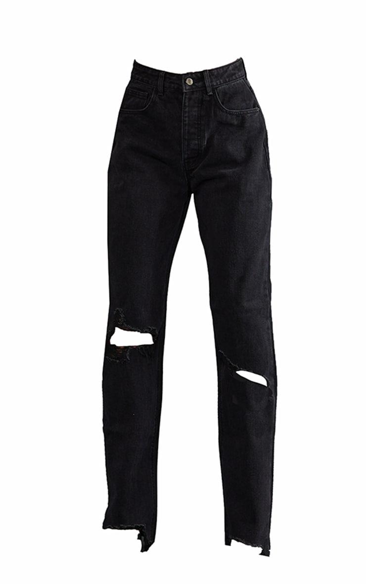 PRETTYLITTLETHING Tall Washed Black Ripped Hem Boyfriend Jeans 5
