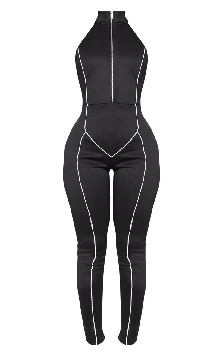 Shape Black Binding Detail High Neck Jumpsuit  3