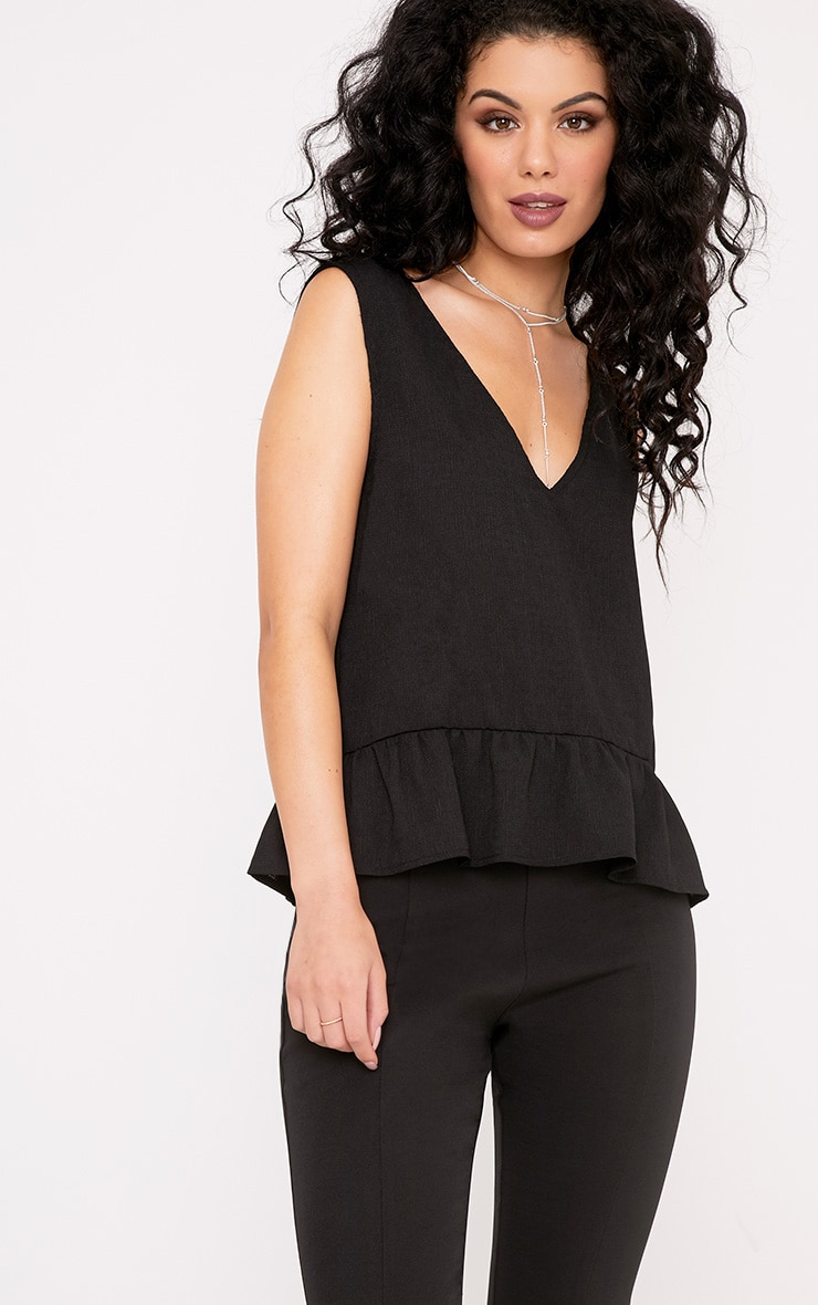 Angelina Black Woven V Back Plunge Frill Blouse 1
