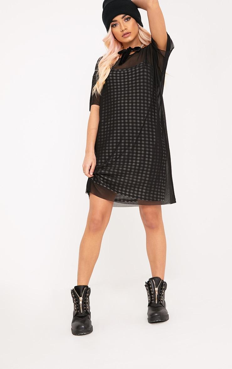 Kanayarr Gingham & Mesh 2-in-1 Dress Black 4