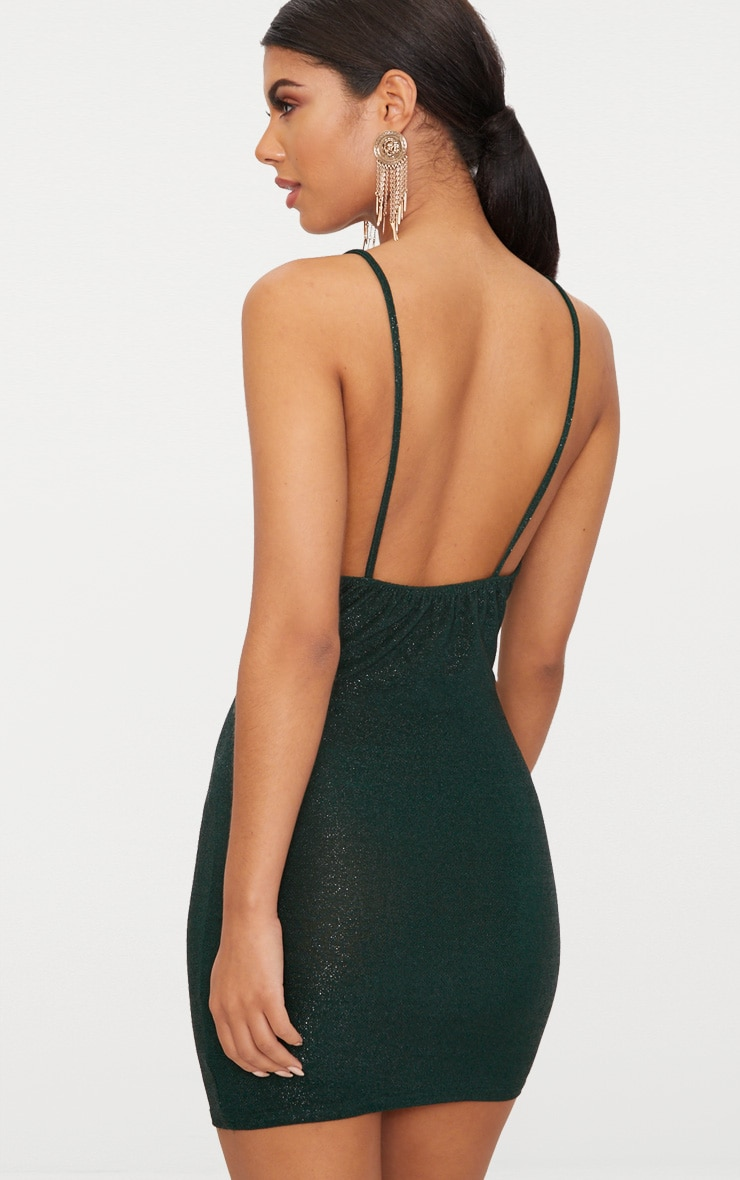 Green Glitter Cowl Neck Bodycon Dress 2