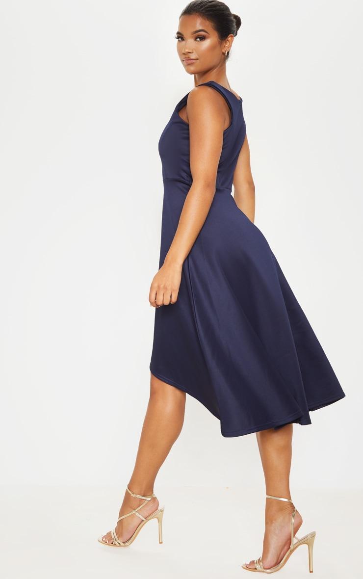 Midnight Blue Scuba Sleeveless Drop Hem Midi Dress 2