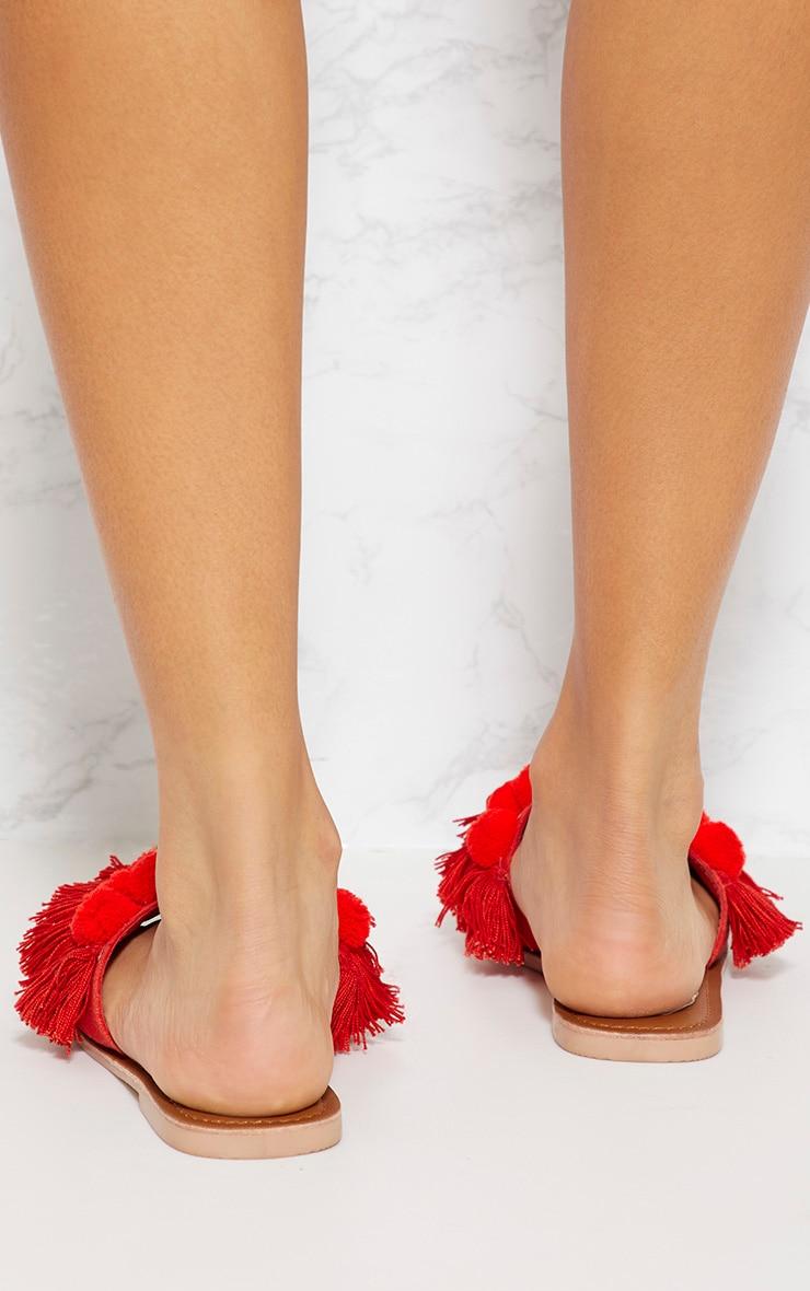 Red Pom Pom Sandals 3