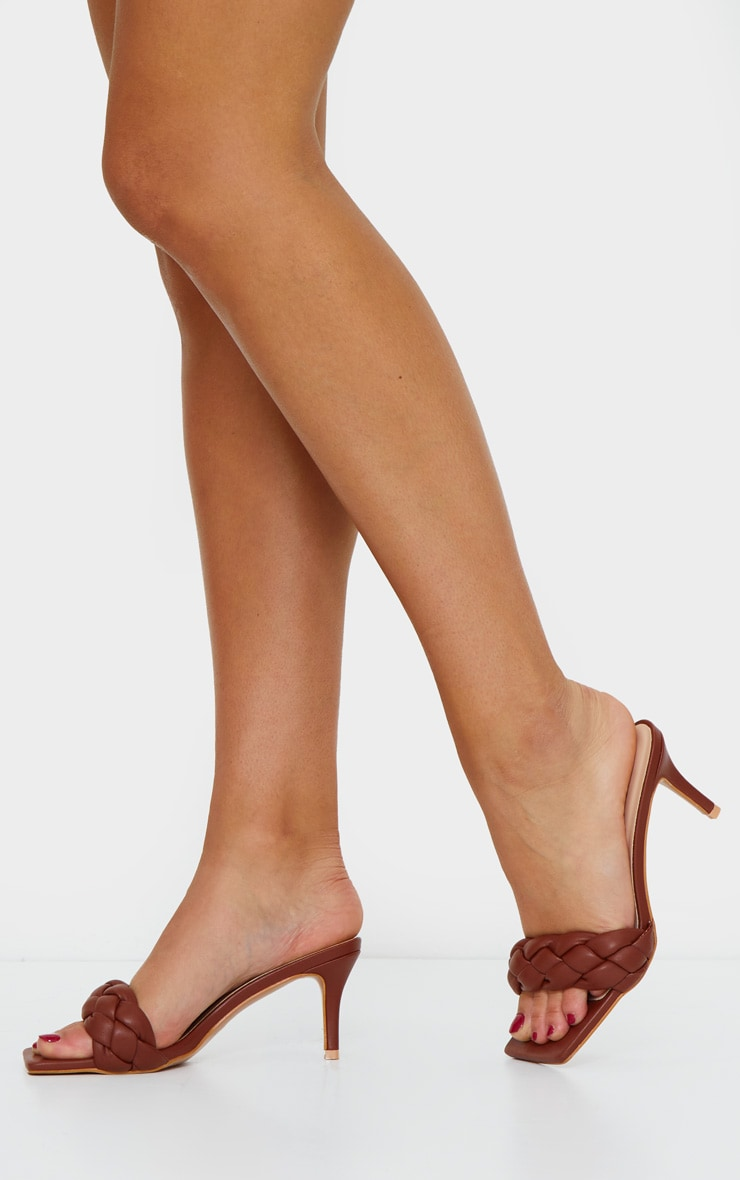 Rust Extreme Square Quilted Plaited PU Low Heel Mule 2