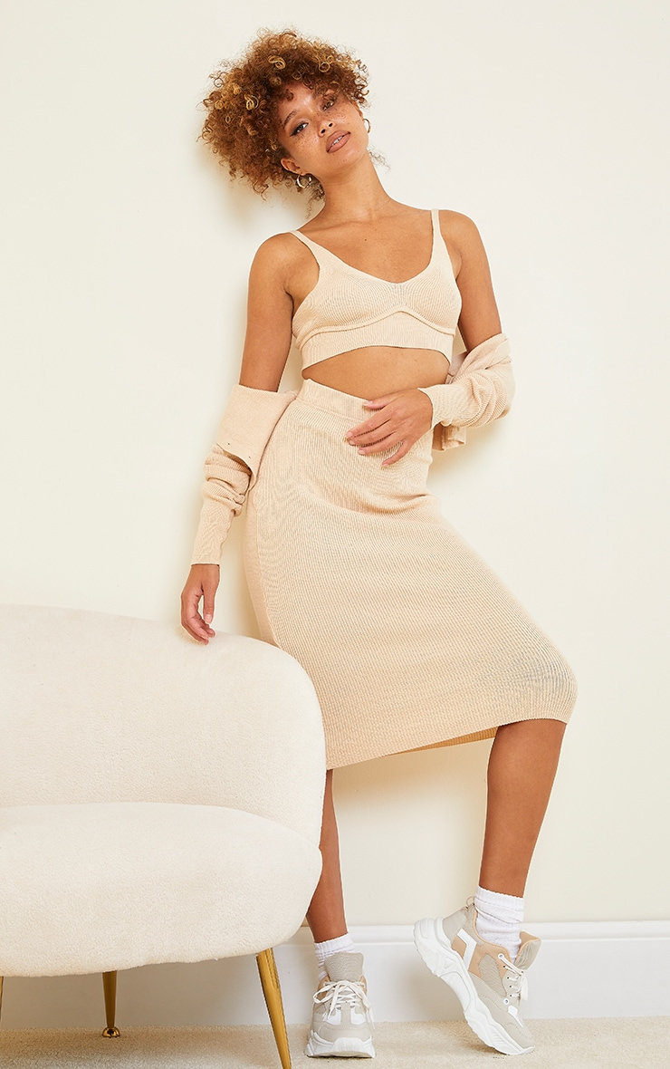 Stone All Over Ribbed Knitted Midi Skirt 1