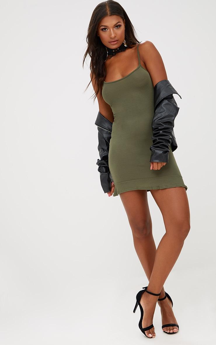 Khaki Frill Hem Bodycon Dress 4
