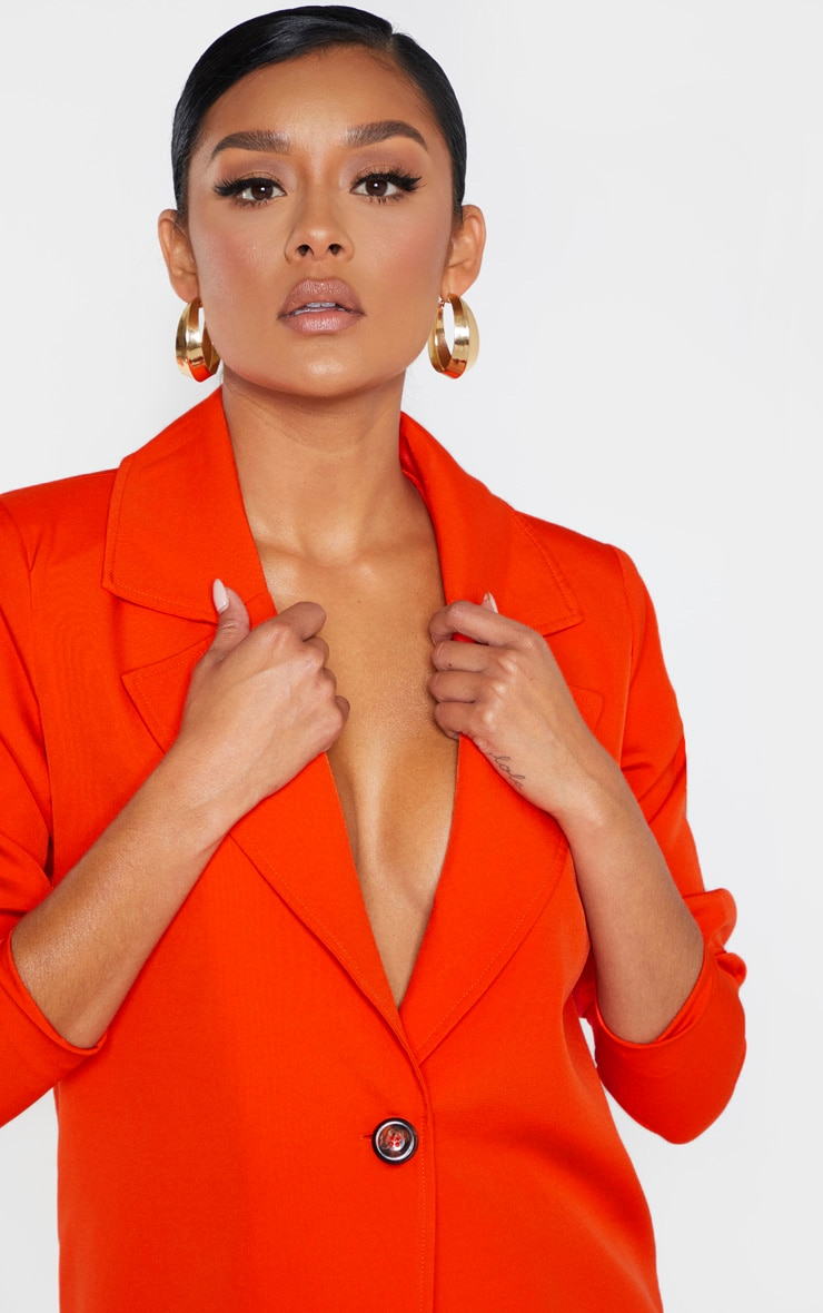 Bright Orange Woven Blazer 5