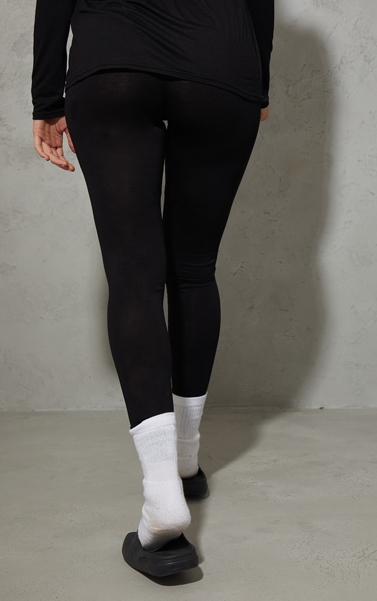 Maternity Black Cotton Leggings 3
