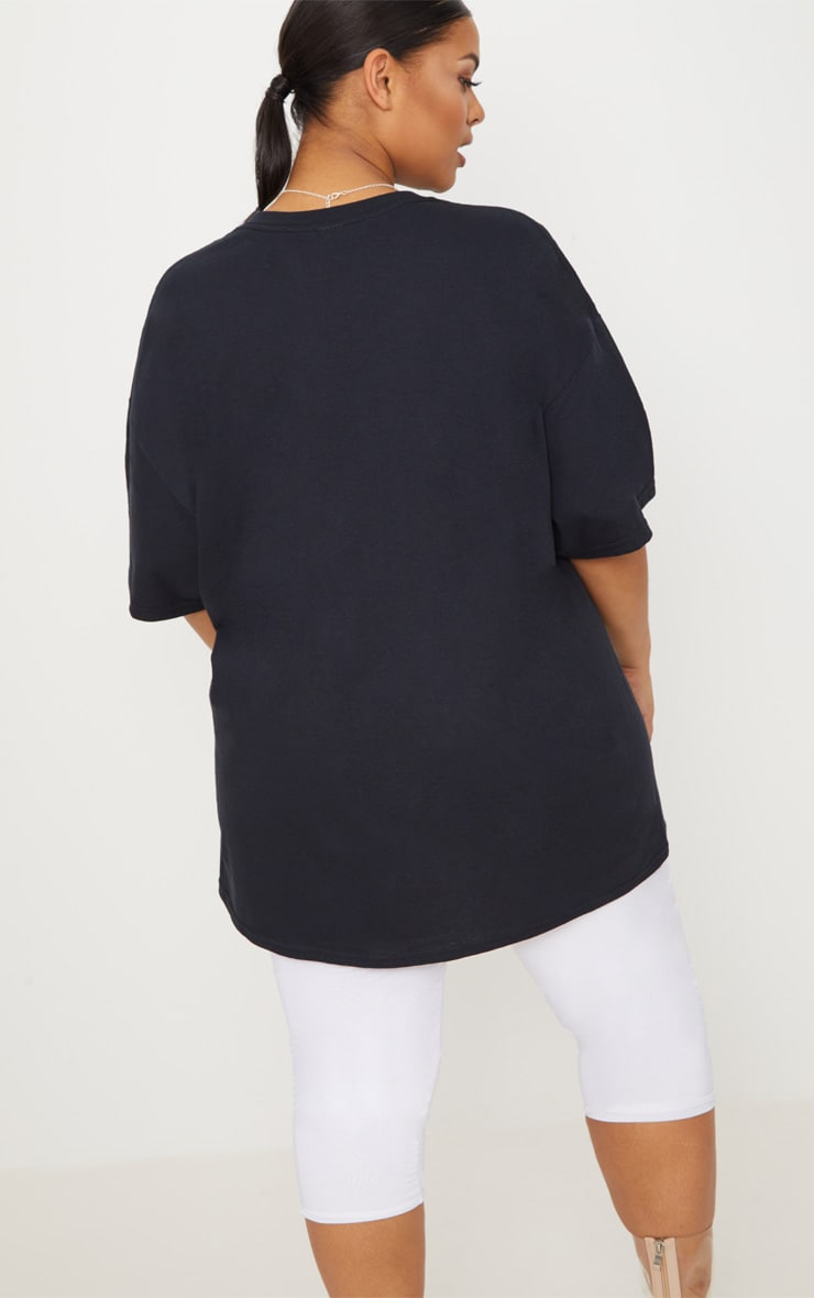 PRETTYLITTLETHING Plus Black Slogan Oversized T Shirt 2