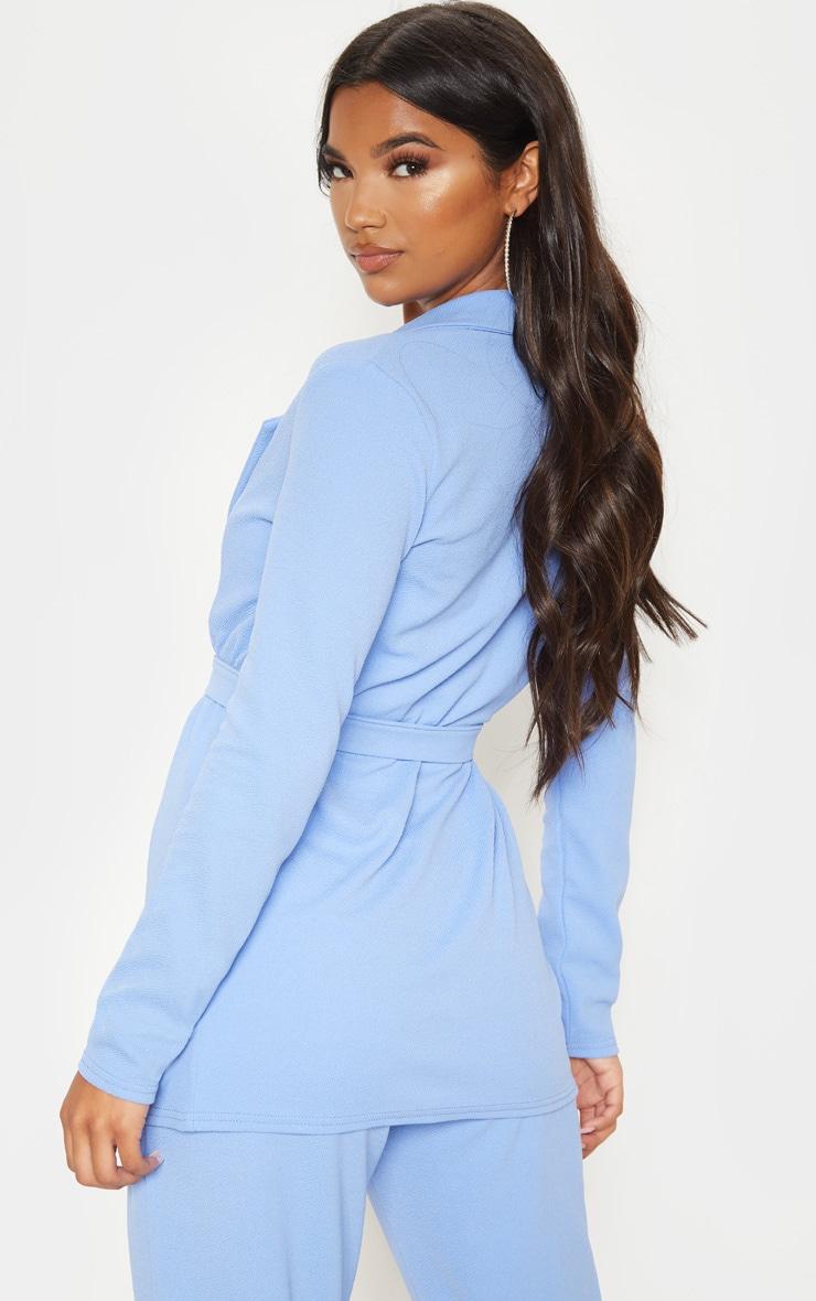 Cornflower Blue Belted Blazer 2