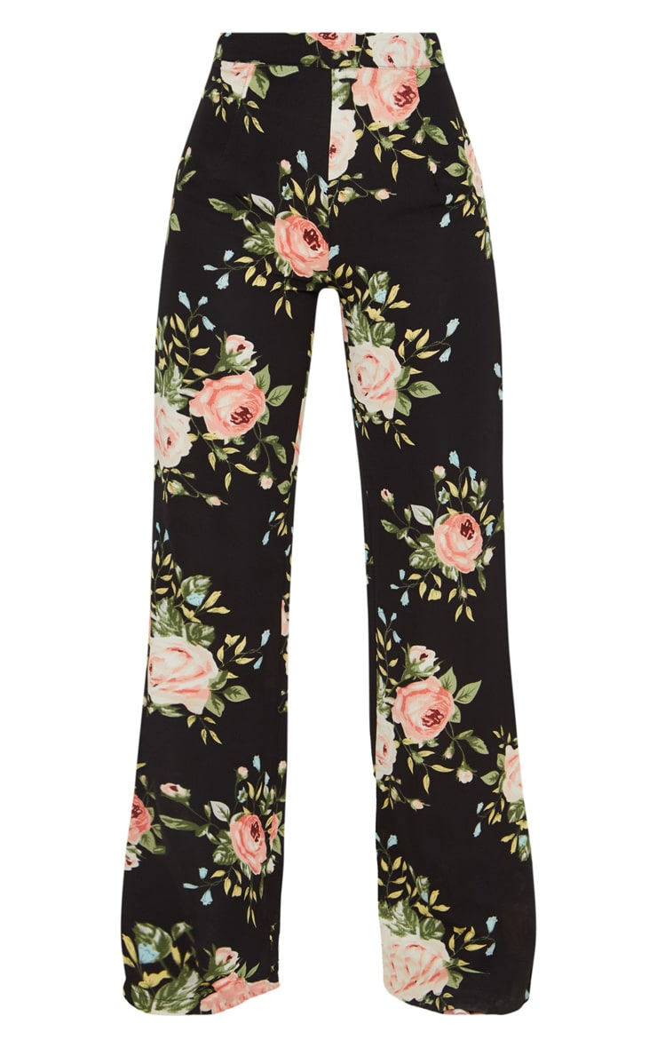 Petite Black Floral Woven Wide Leg Suit Trousers 3