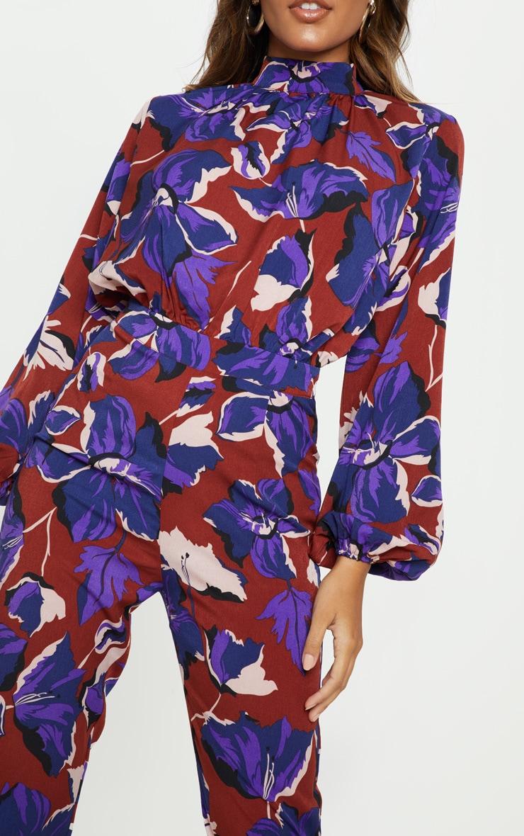 Burgundy Floral High Neck Slim Leg Jumpsuit 5