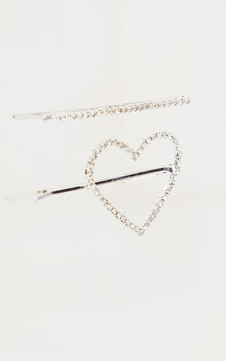Silver Heart Hair Slides 1