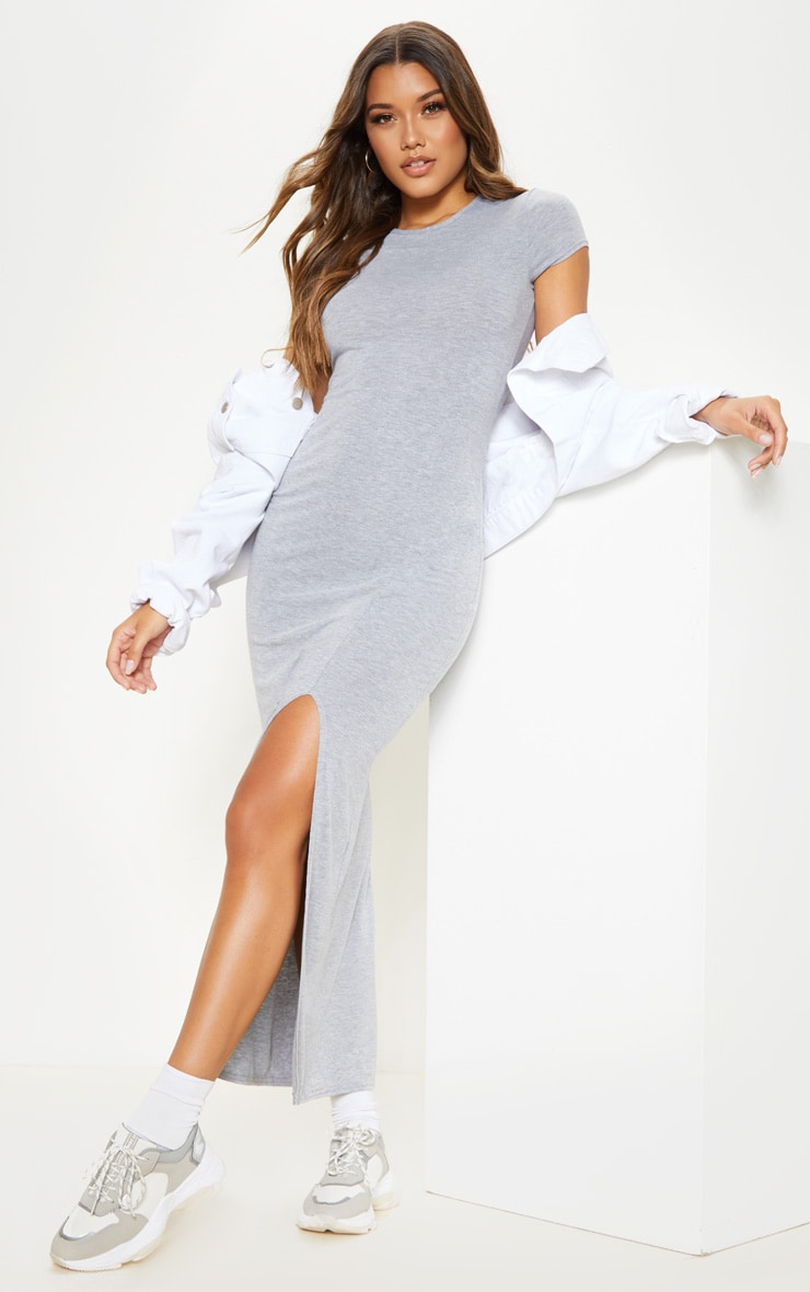 Grey Jersey Short Sleeve Split Maxi Dress 1