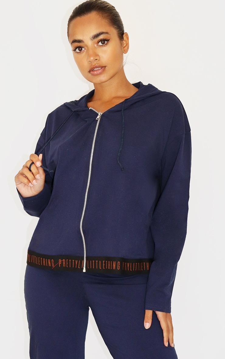 PRETTYLITTLETHING Petite Navy Cotton Zip Up Hoodie 1
