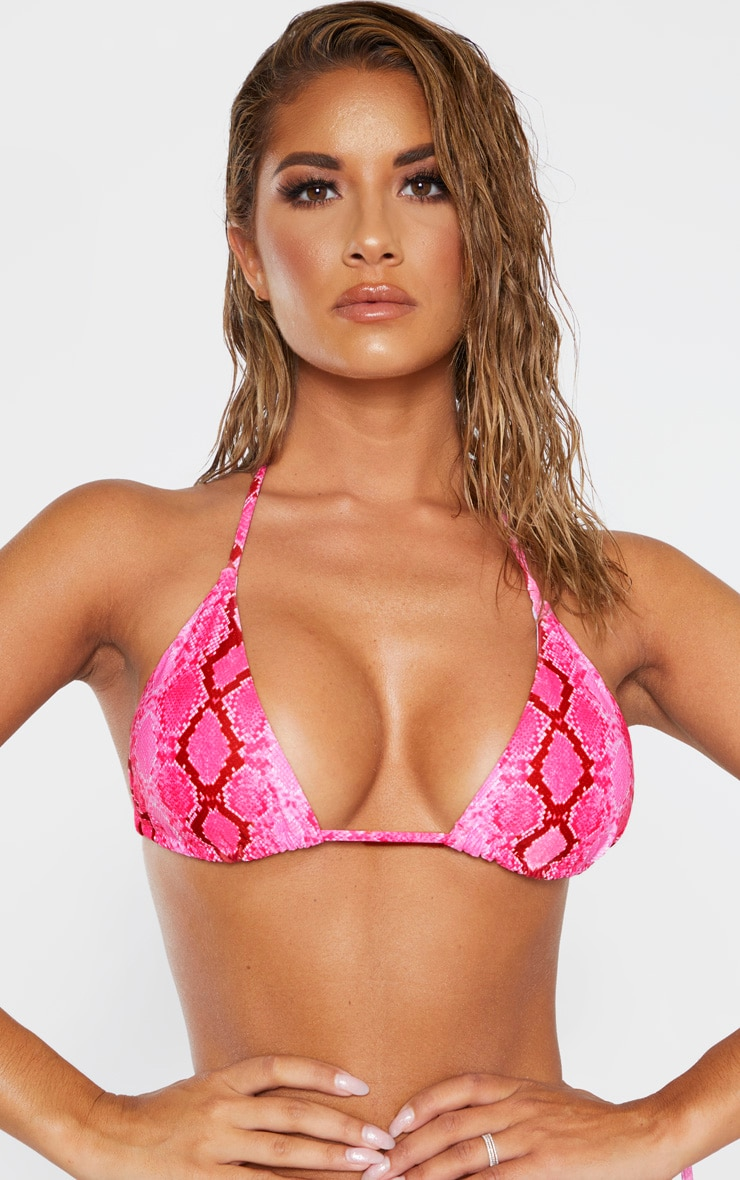 Pink Snake Adjustable String Tie Padded Triangle Bikini Top 4