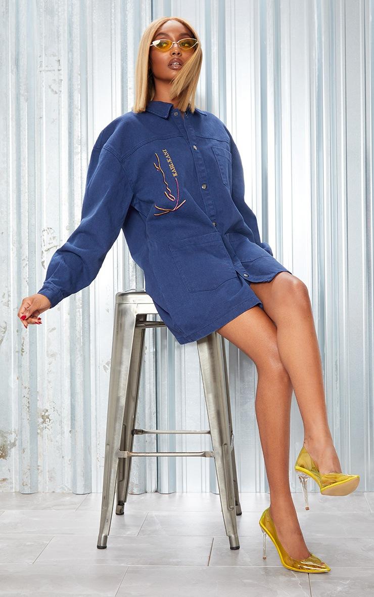 KARL KANI Blue Oversized Denim Shirt Dress 6