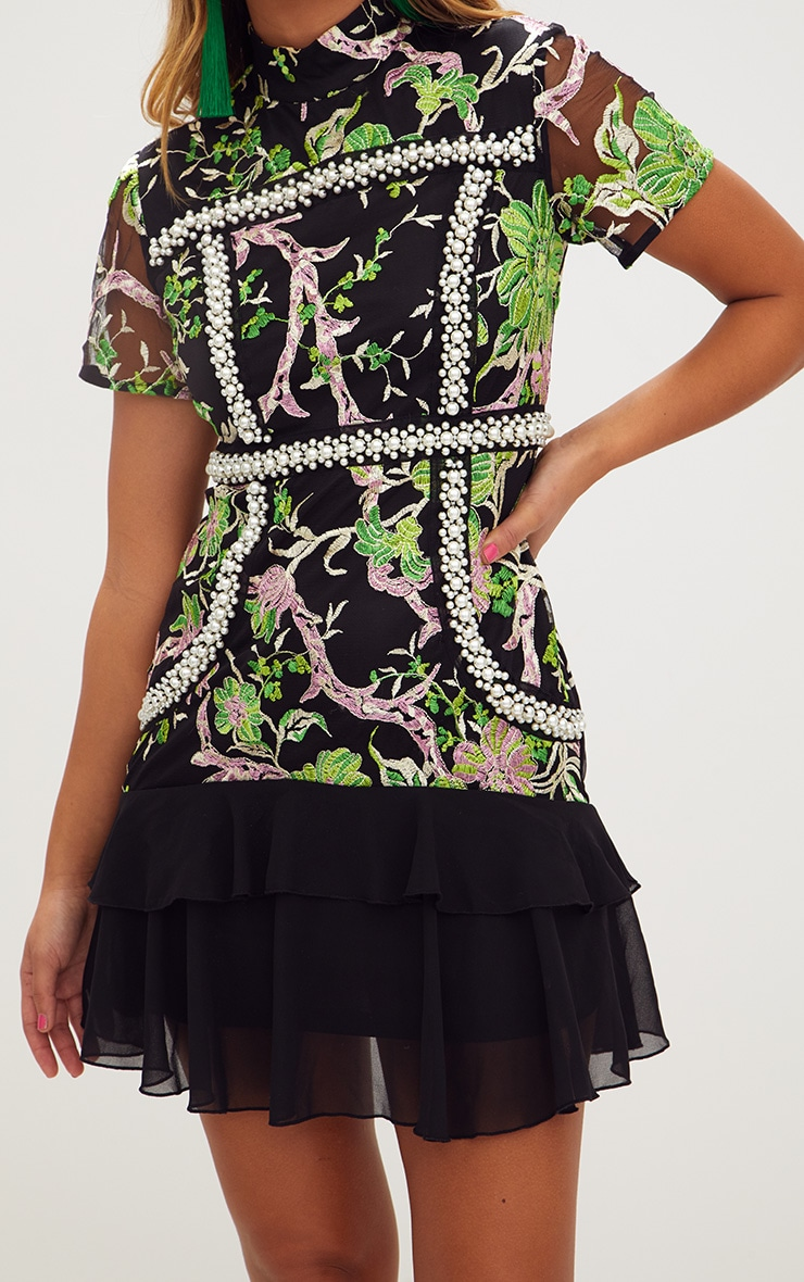 Premium Green Embroidered Floral High Neck Bodycon Dress 6
