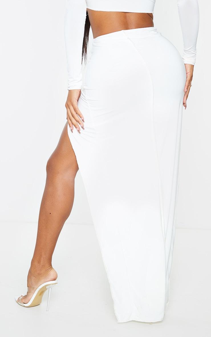 Shape Cream Slinky Split Front Maxi Skirt 3