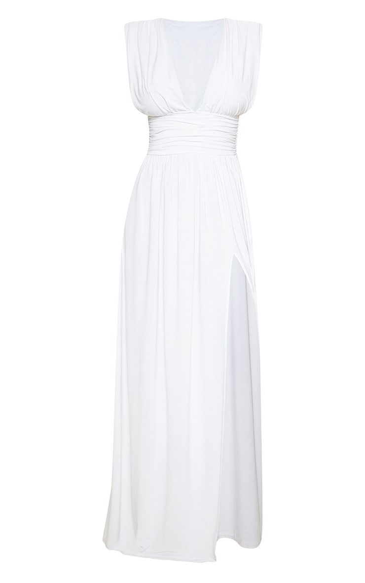 White Ruched Plunge Maxi Dress 3