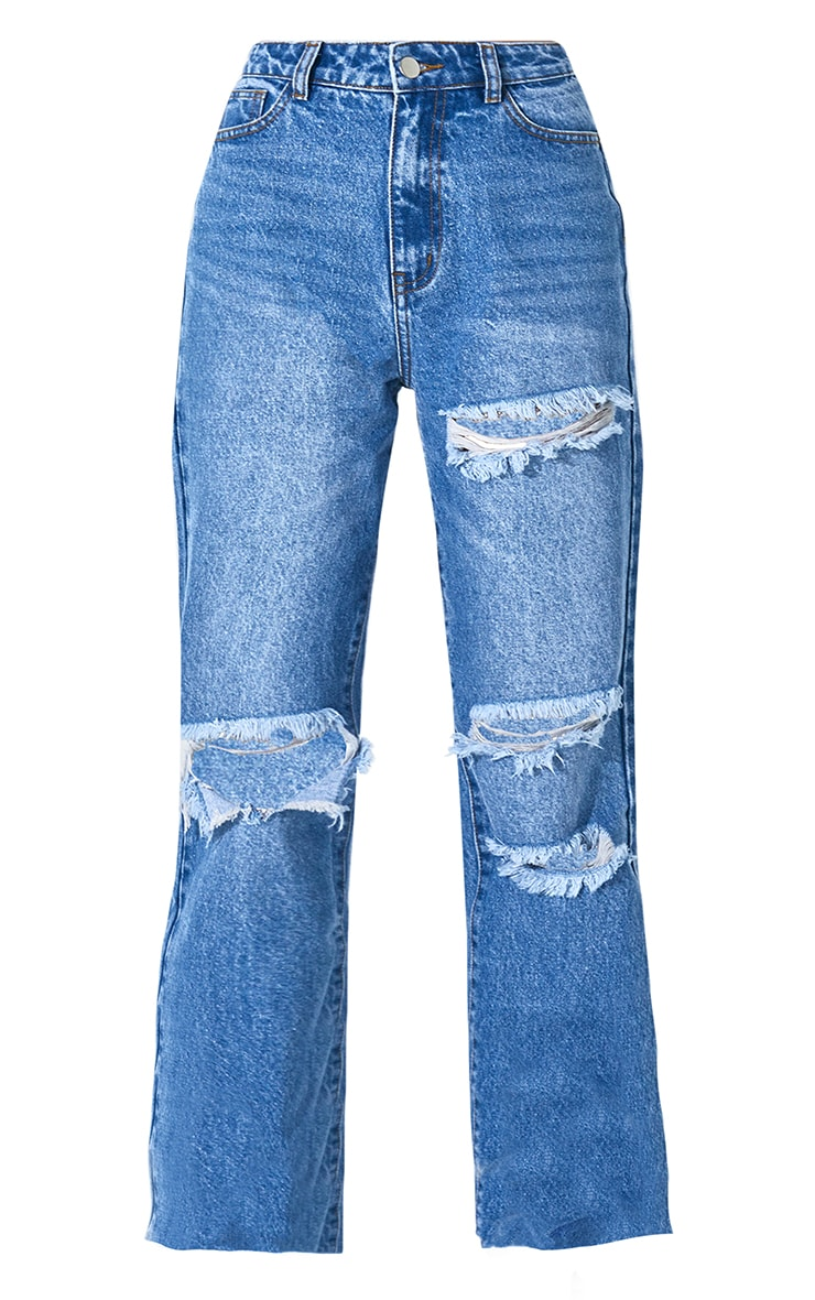 PRETTYLITTLETHING Mid Blue Wash Distressed Long Leg Straight Jeans 5