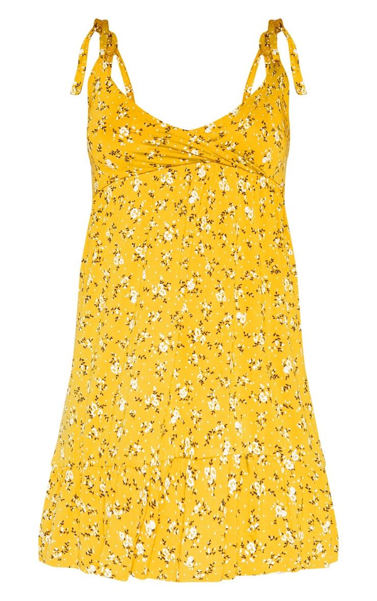 Mustard Floral Print Tie Shoulder Frill Hem Skater 3