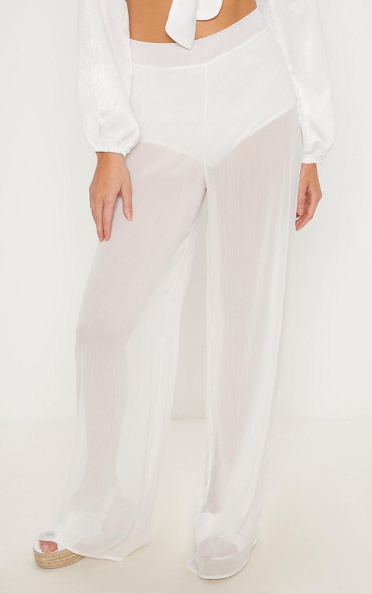 Cream Sheer Wide Leg Trouser 2