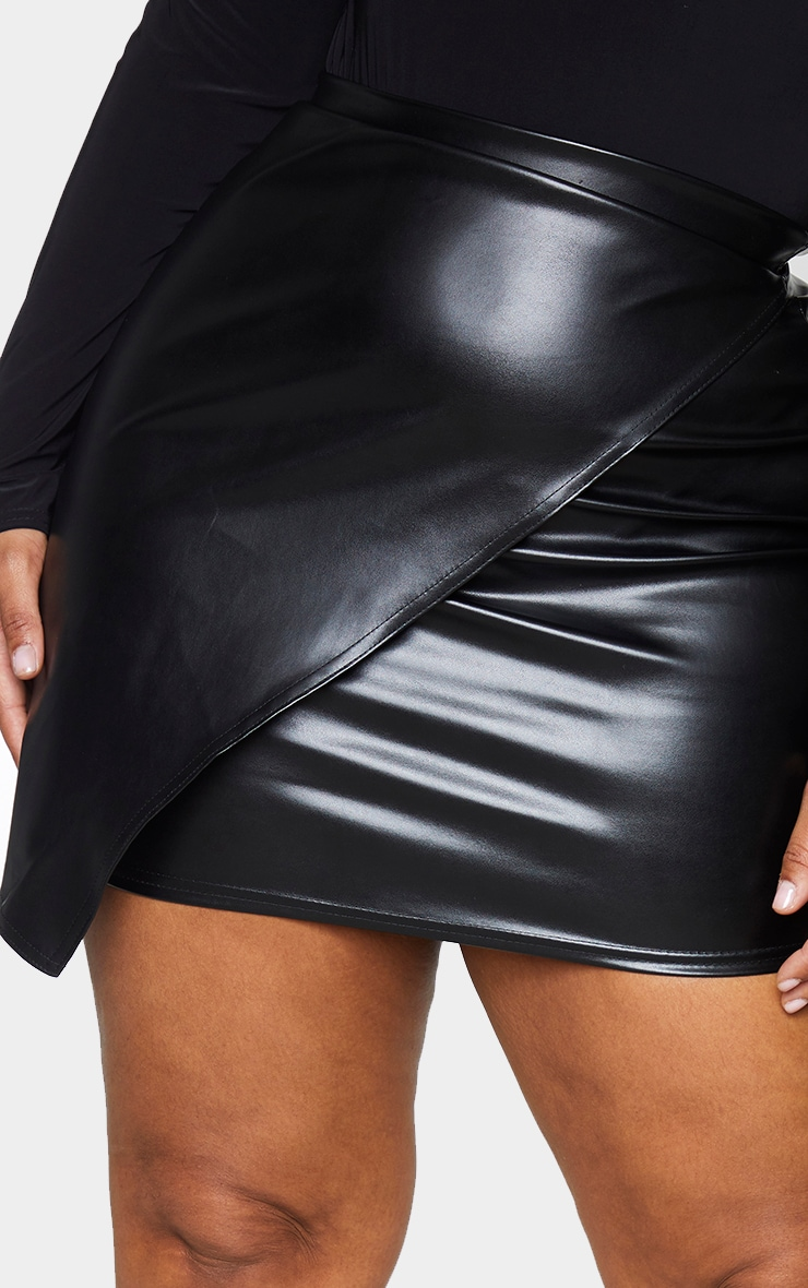 Plus Luisa Black Faux Leather Wrap Mini Skirt 5