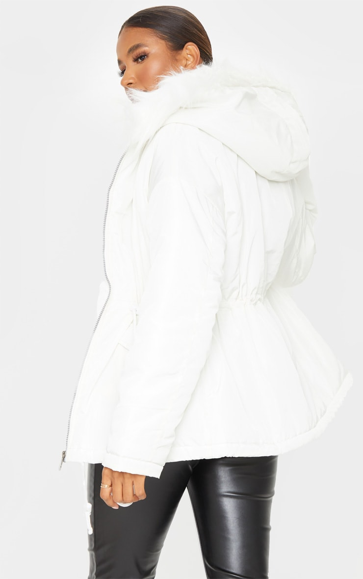 White Nylon Drawstring Waist Faux Fur Hooded Puffer Jacket 2