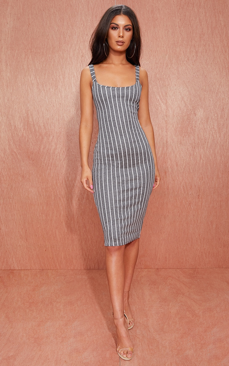 Grey Striped Midi Dress