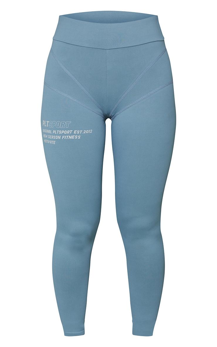 Steel Blue Stitch Detail Gym Leggings 5