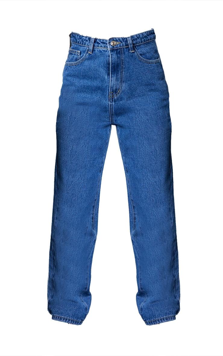 PRETTYLITTLETHING Petite Mid Blue Straight Leg Jeans 5