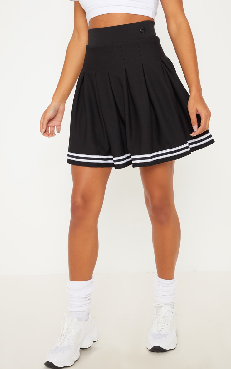 Black Contrast Track Stripe Pleated Tennis Skirt 2