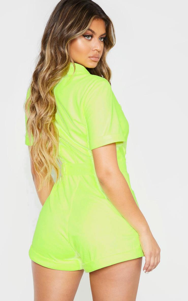 Neon Lime Faux Suede Tie Waist Romper 2