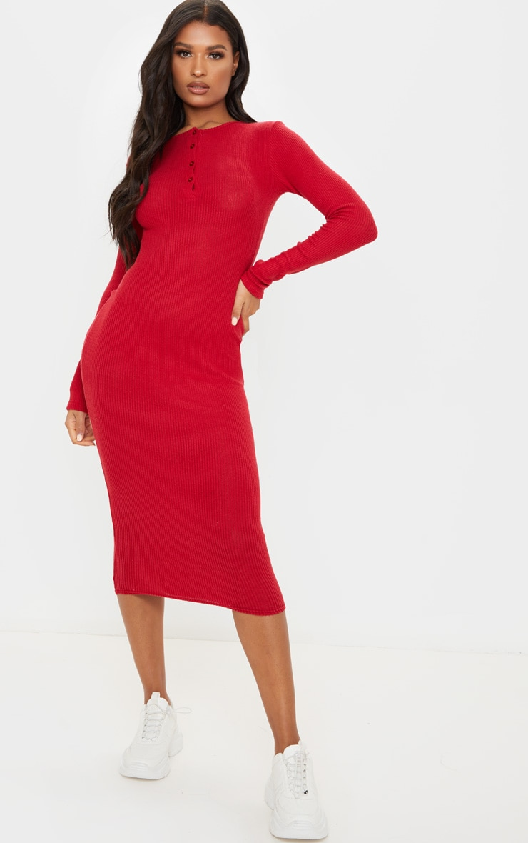 Scarlet Brushed Rib Button Front Midaxi Dress 1