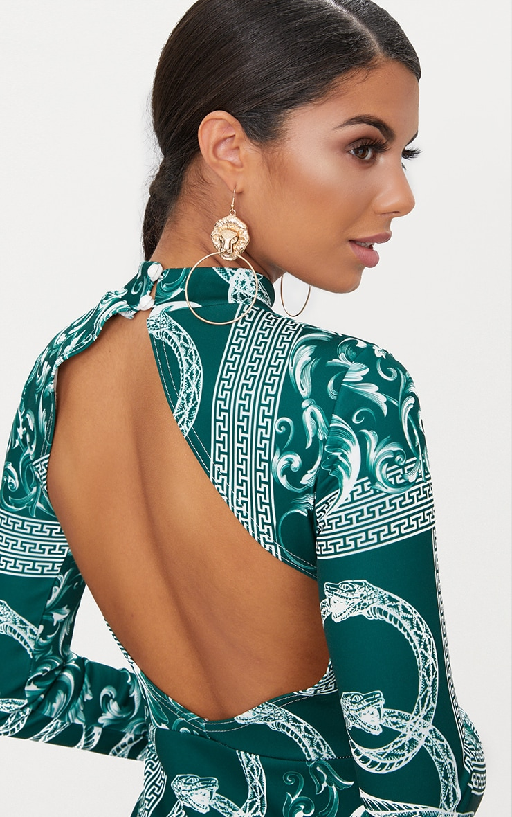 Emerald Green Long Sleeve High Neck Printed Backless Bodycon Dress 5
