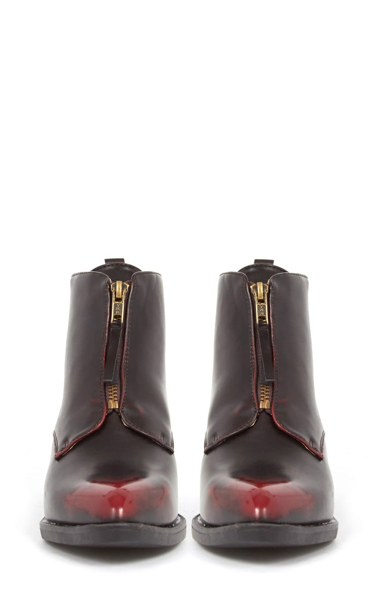 Rika Oxblood Zip Front Pointed Ankle Boot  2