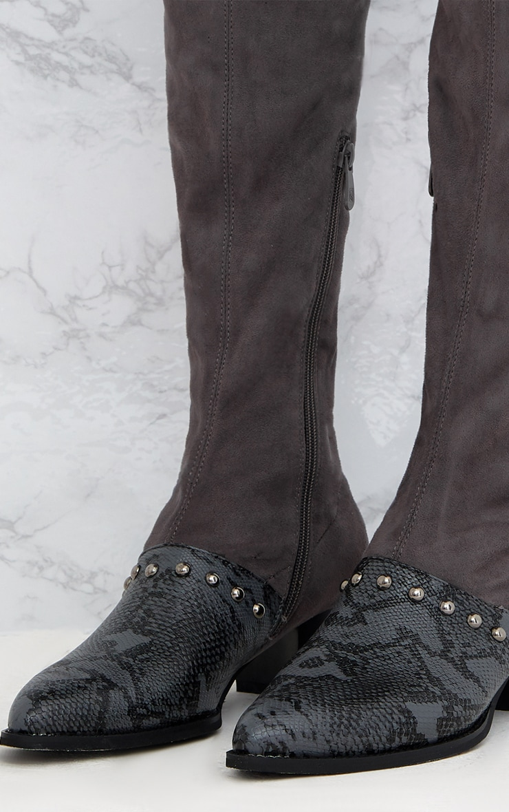 Grey Studded Contrast PU Over The Knee Boots 4