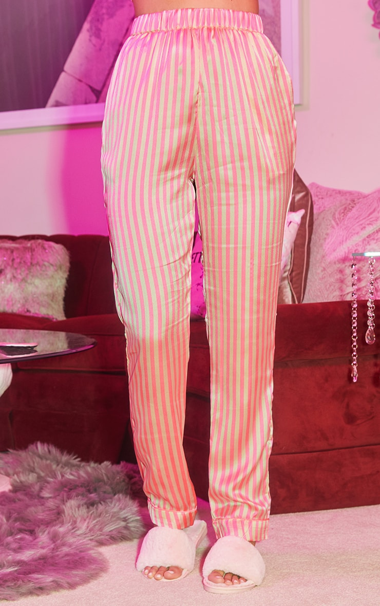 Pink Long Striped Satin PJ Set 4