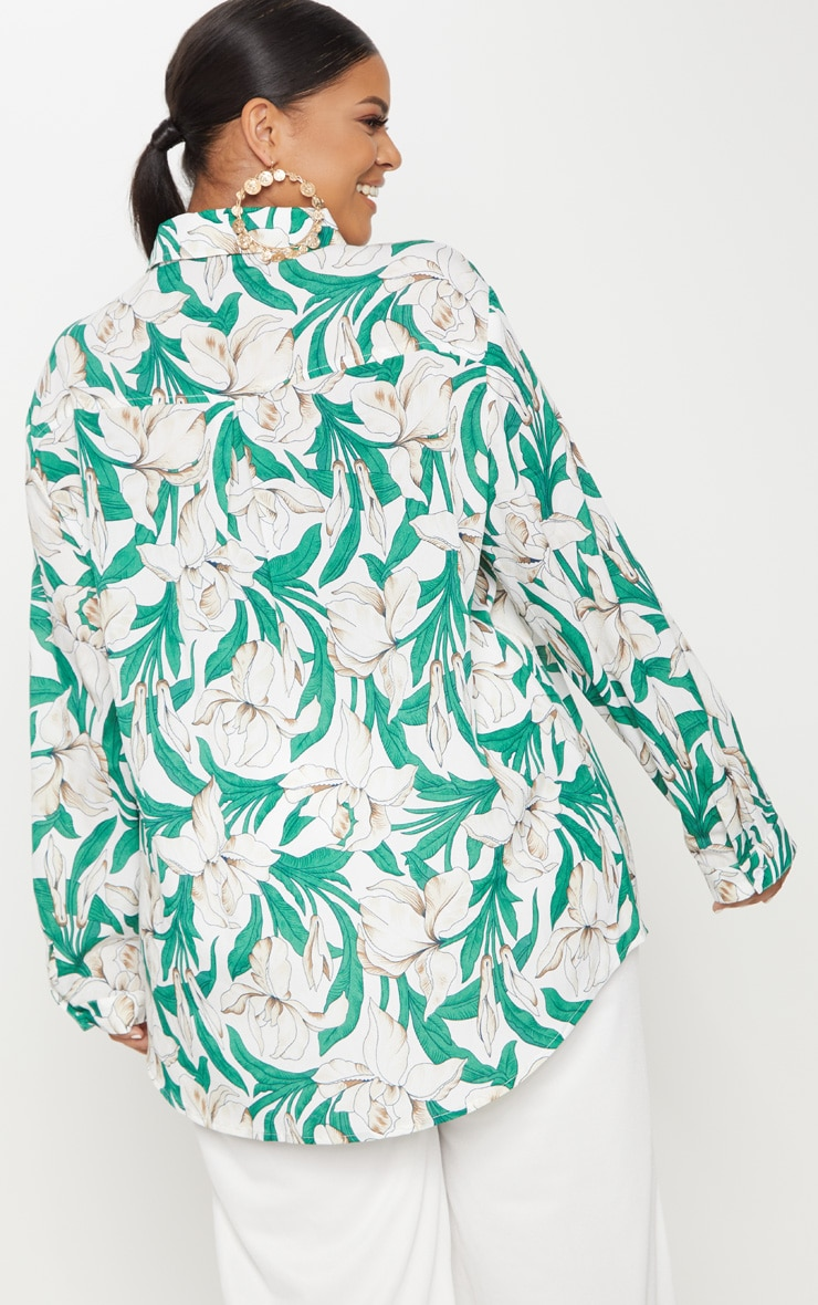 Plus White Floral  Oversized Shirt   2