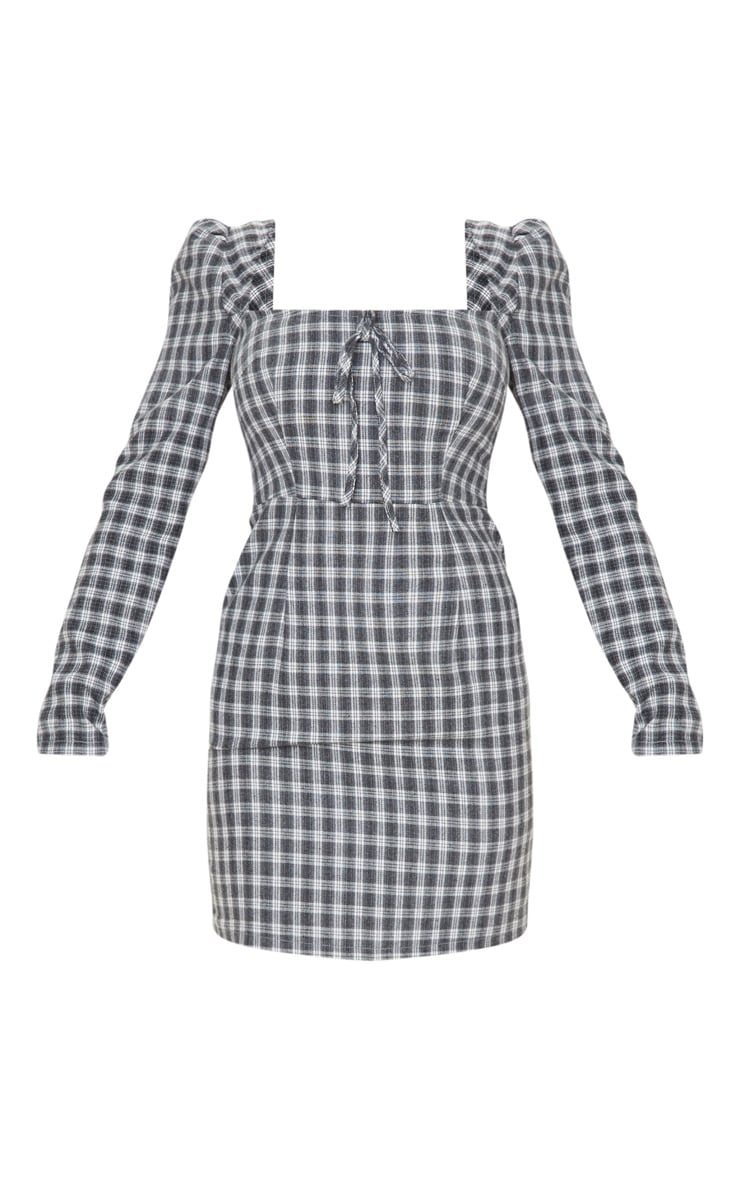 Black Check Square Neck Shift Dress 3
