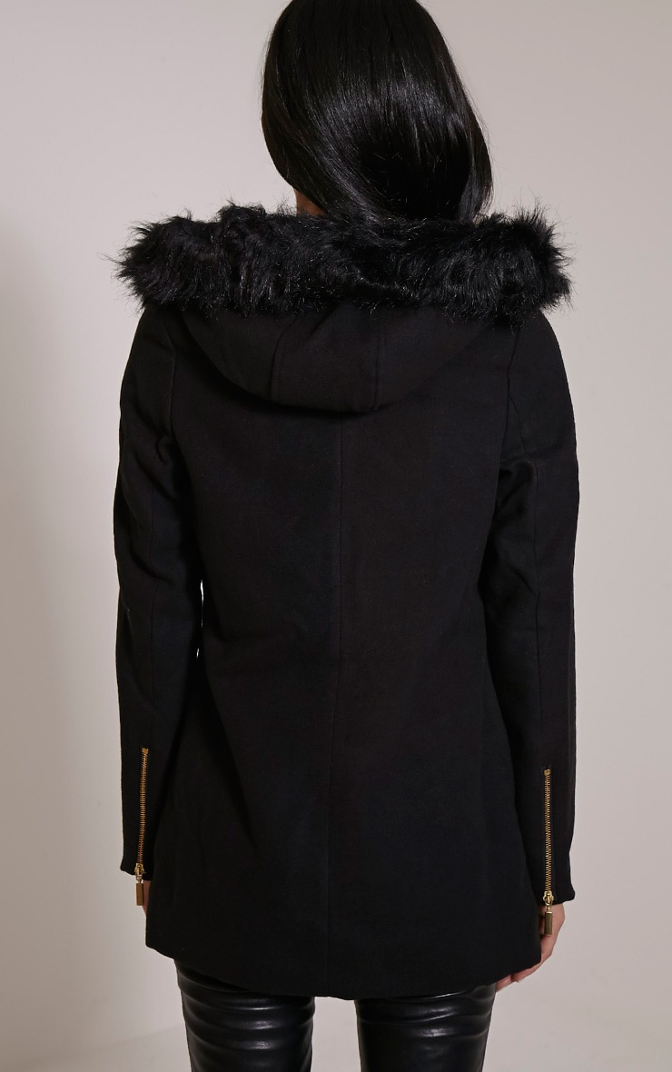 Lacey Black Faux Fur Collar Wool Biker Jacket 2