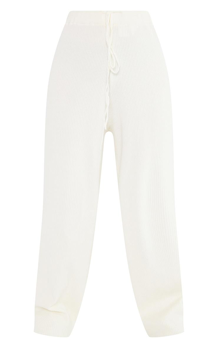 Petite Cream Soft Rib Wide Leg Joggers 5