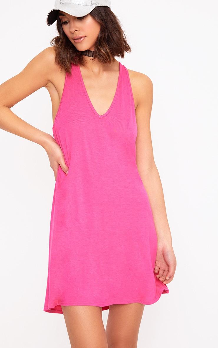 Fuchsia Jersey V Plunge Sleeveless Shift Dress  1
