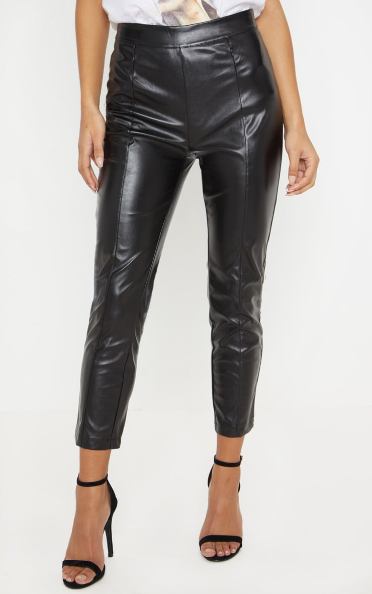 Daysha Black Cropped Faux Leather Pants 2