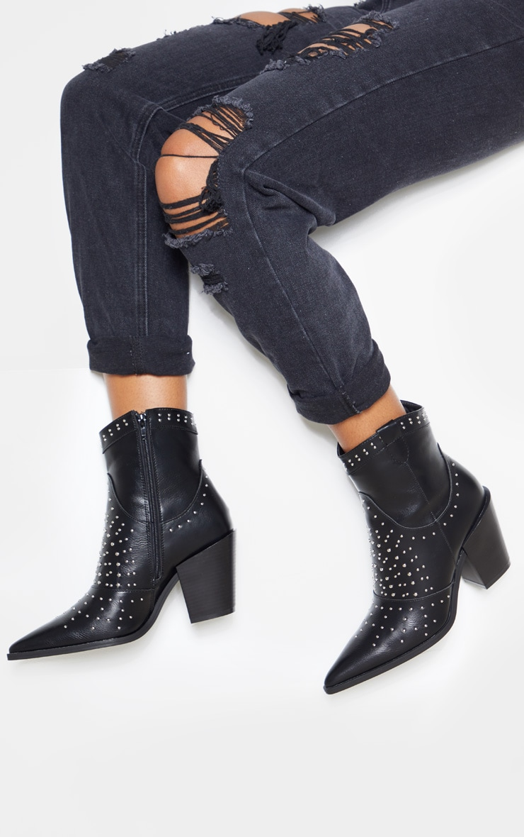 Black Point Toe Stud Detail Western Heel Ankle Boot 1
